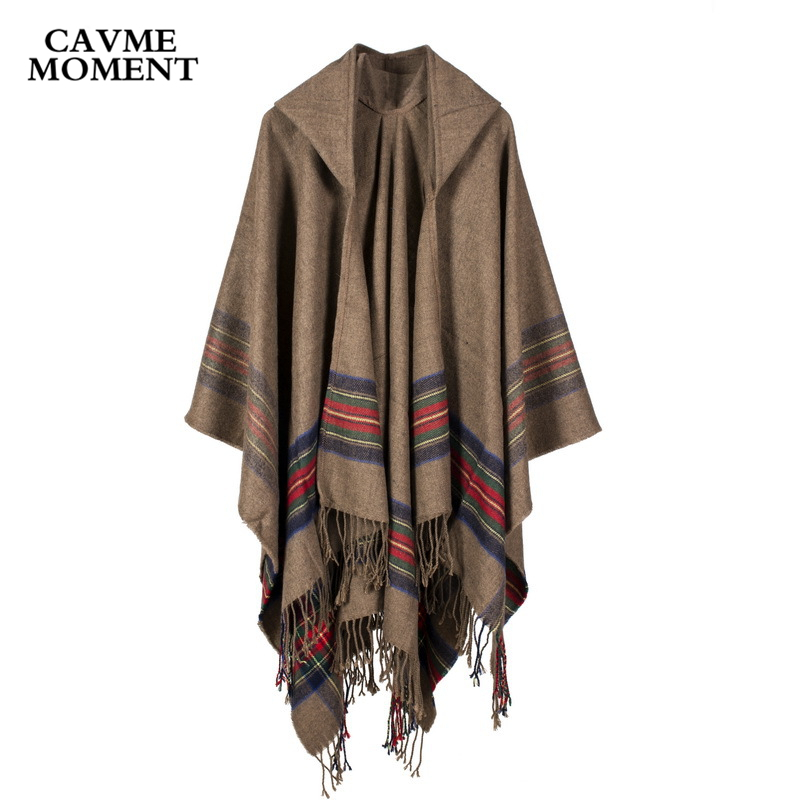 CAVME Winter Hooded Poncho with Tassels for Women Ladies Stole Khaki Grat Black Wine red Scarves 130*150cm 450g 100% Acrylic