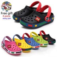 Модные пляжные тапочки для мальчиков и девочек, детские сандалии, летняя детская мультяшная обувь из ЭВА, дышащие Нескользящие Детские Тапочки