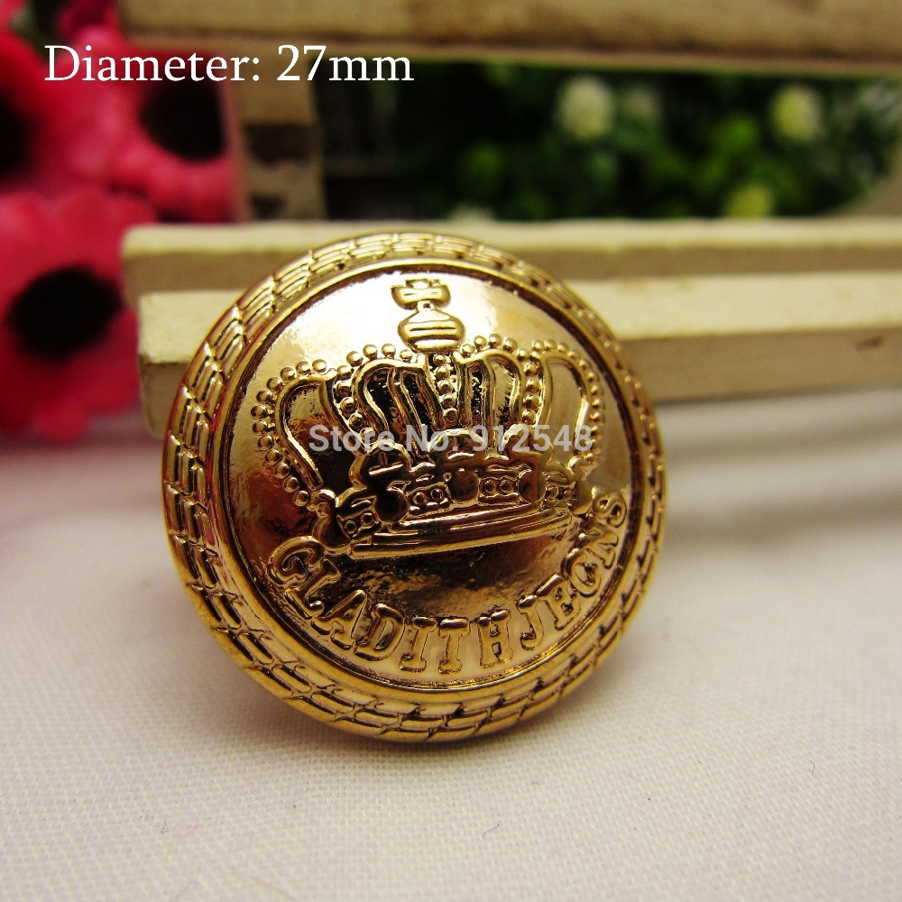 rj922 10pcs 27mm gold metal buttons in gold color imperial