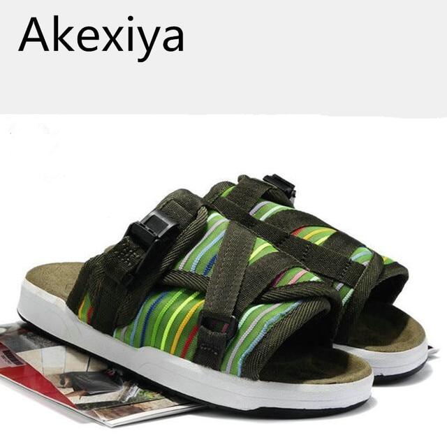 Akexiya 2017 Summer Hot Sale Brand Visvim Sandals Fashion Men Unisex Lovers Casual Slippers Beach Outdoor Sandals Slipper