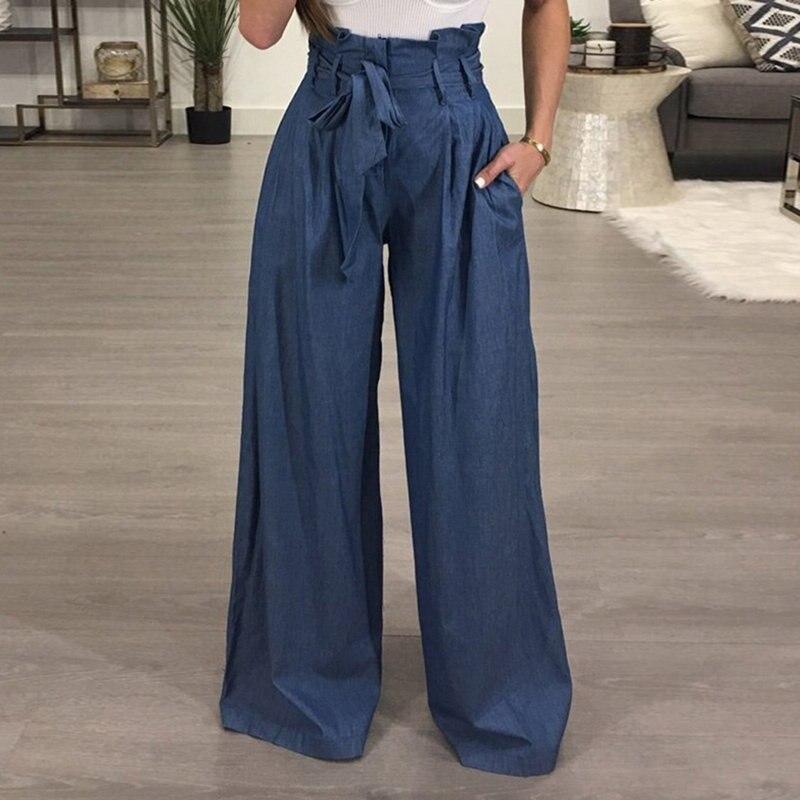 Tunic   Wide     Leg     Pants   Female High Waist Lace Up Maxi Trousers Large Size Autumn Fashion Women OL Clothing Loose Long   Pants
