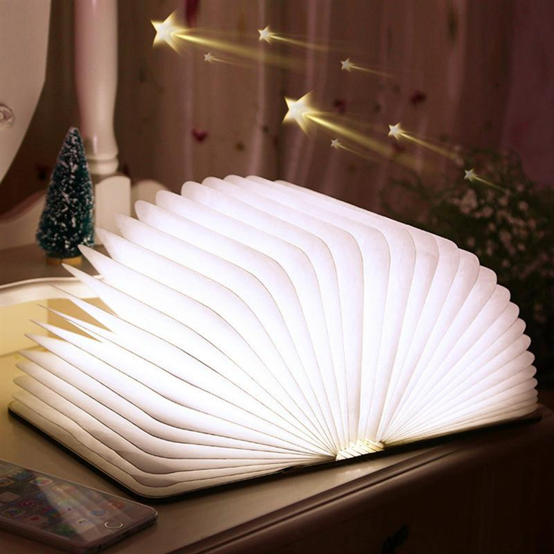 ФОТО USB Rechargeable Wooden Folding Desk LED Night Book Light Magnetic Table LED Lamp Wedding Decoration
