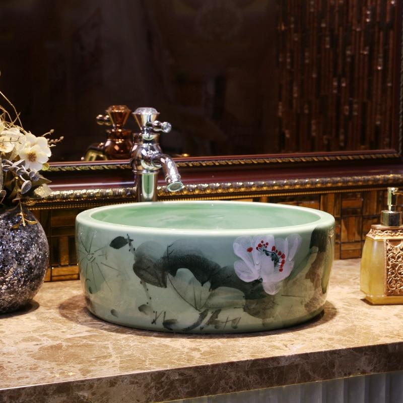 25318 Vestiaire En Porcelaine Lavabo Rond Lavabo Comptoir évier Noir Salle De Bains Peinture à La Main Art Lavabo Shampooing Bol évier In Lavabos