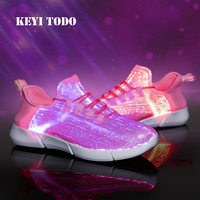 For girls boys light shoes children sneakers led fiber optic shoes USB Charging Teenager Light Up shoes luminous shoes C327