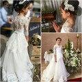 Белое/цвета слоновой кости платье маленькой принцессы с красивым цветком для девочек  Свадебное кружево Аппликация  с открытыми плечами  а-...
