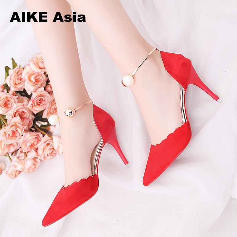 2019 Female Fashion Sexy Hollow With Sandals  Summer Women Pumps Shoes  Women Pumps Green String Bead High-heeled #988
