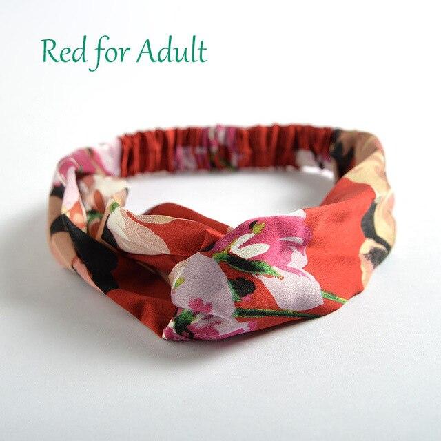 Аксессуары для волос повязки для женщин лента для новорожденных повязки на голову для девочки с цветочным рисунком Шелковый, с принтом ткань эластичная резинка для волос тюрбан с узлом - Цвет: Red