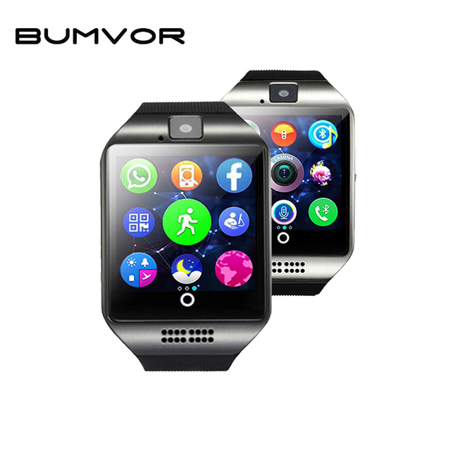 BUMVOR Free shipping Q18 Passometer Smart watch with Touch Screen camera TF card