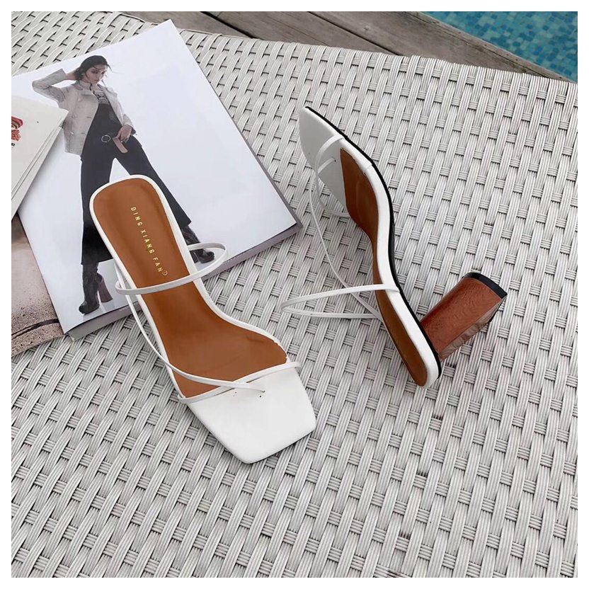 2019 Summer Elegant Women Narrow Band Slides High Heel Slippers Female Peep Toe Wood Block Heel Sandals For Party Shoes Slippers
