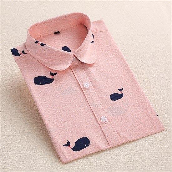 Harajuku druku kobiety bluzki bawełniane koszule z długim rękawem damskie bluzki collar floral clothing kobiet top koszula blusas duże rozmiary 5xl 7