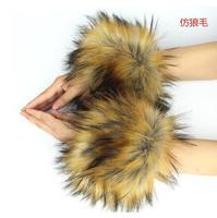Large Cuff Oversleeps Fur Bracelet Wrist Winter Coat Sleeve Hand Ring Faux Fox Fur Decoration Ultra