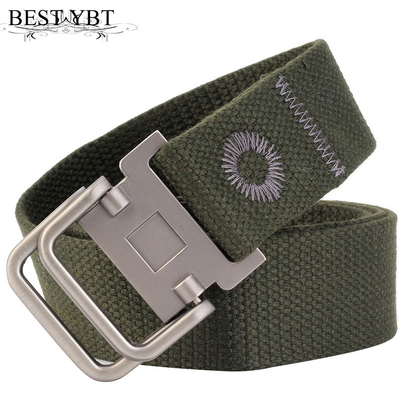 Best YBT Unisex Belt Fashion New Alloy Double Ring Buckle Men Canvas Belt Casual Trend Men And Women Sport Cowboy Belt