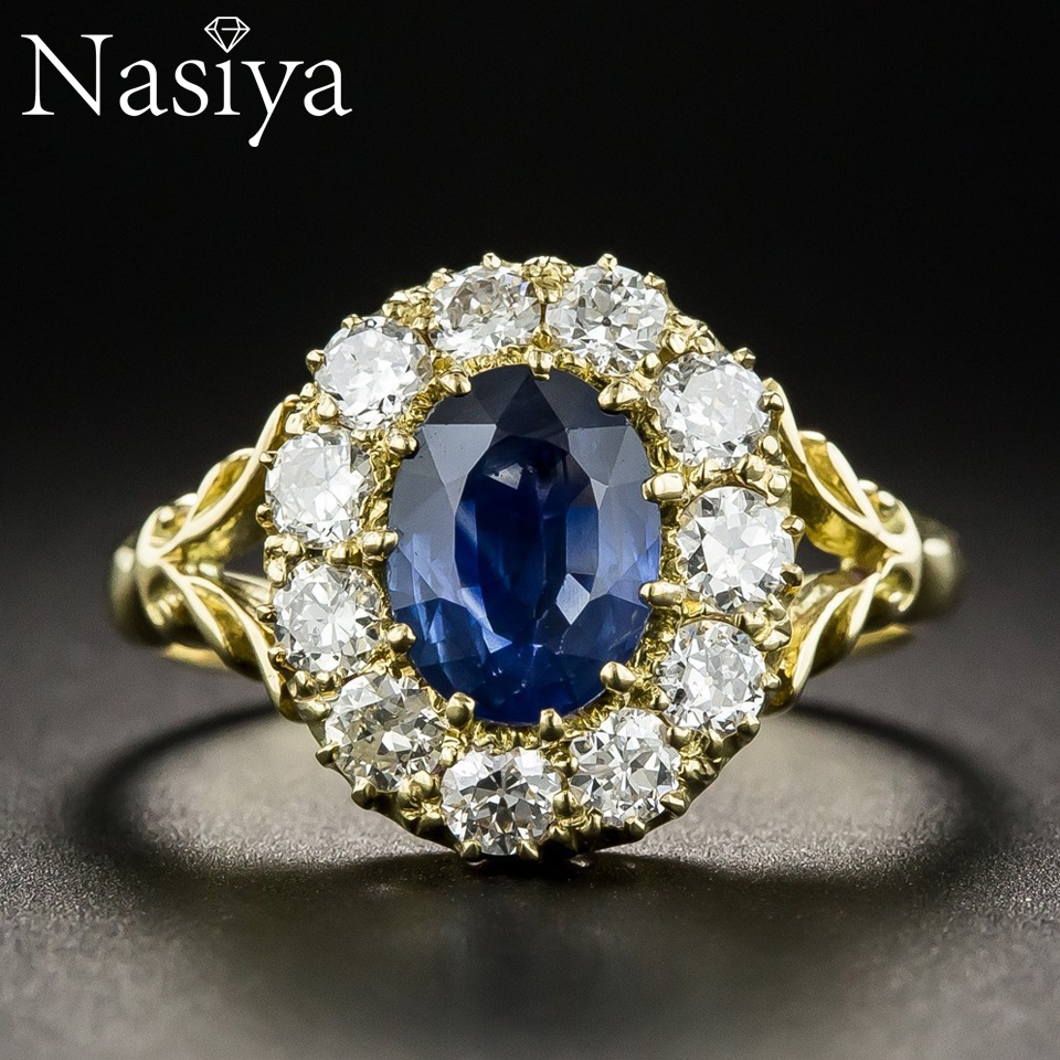 New Luxury Aquamarine Gemstone Gold Color Rings For Women 925 Silver Jewelry Vintage Exquisite Ring Anniversary Engagement Gifts