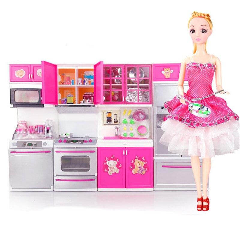 Mini Children Kitchen Set Toys With Doll Simulation Cooking tool Set Pretend Play plasitc cookware Kids Kitchen Toys Set Gift