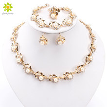 Fashion Simulated Pearl Costume Jewelry Sets Gold/Silver Plated Nigerian Wedding African Beads Crystal Jewelry Sets