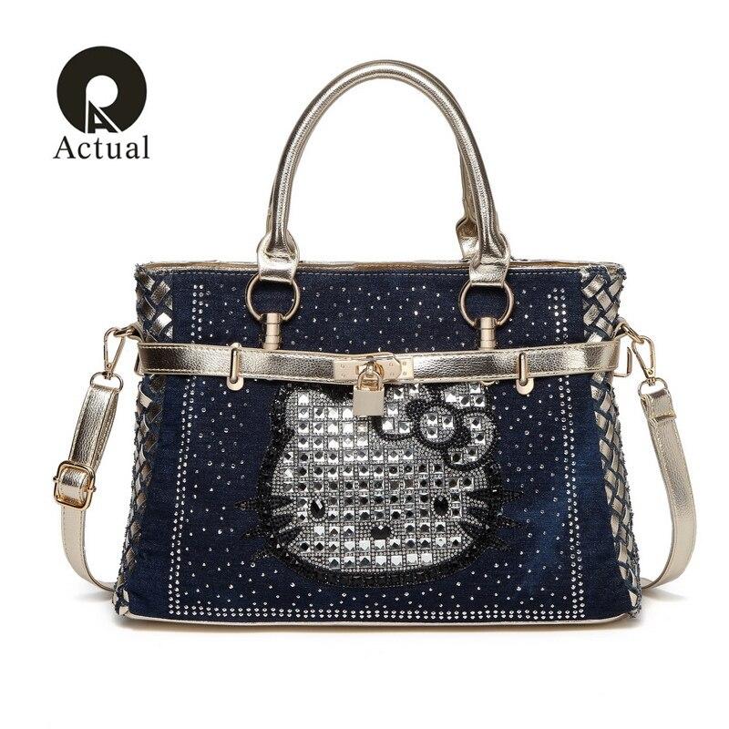 Actual 2018 Brand Women Bag 2018 Fashion Denim Handbags Female Jeans Shoulder Bags Weave Design Women Tote Bag