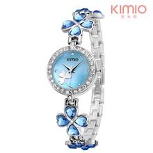 KIMIO Marca de Lujo Mujer Relojes de Acero Inoxidable Del Trébol de Cristal Pulsera de Reloj de Pulsera Reloj de Cuarzo Reloj Mujer Montre Femme K456