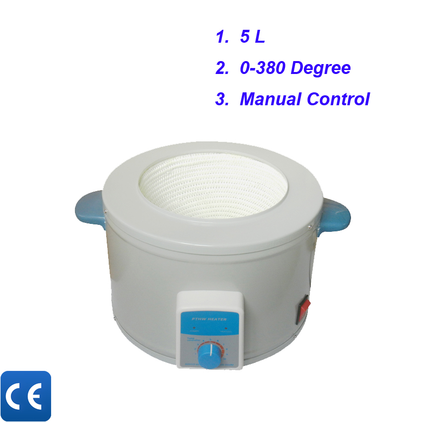Free shipping,  5L Temperature Controlled Laboratory Thermostat  Heating Mantle 100ml 130w electric temperature regulation heating mantle temperature adjustable pthw