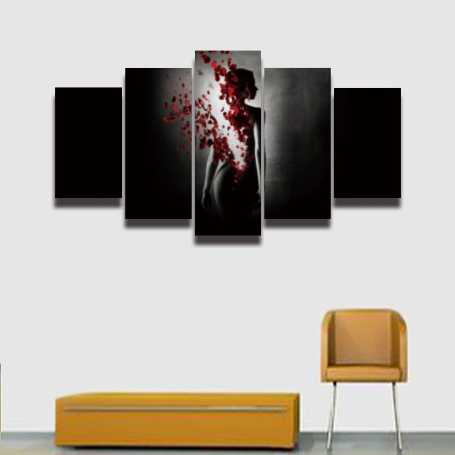 2016 г. Лидер продаж Sexy Girl девушку лепестки Картина на холсте 5 панелей моды стены Книги по искусству Декор Гостиная дома принты