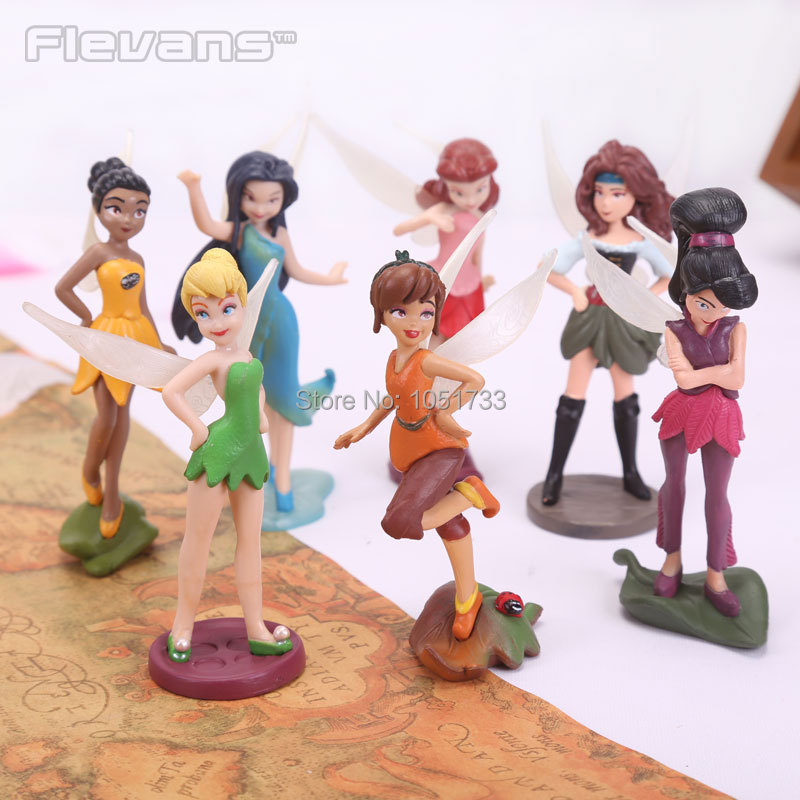 Tinkerbell Fairy Adorable Tinker Bell Action Figures Retail Dolls Gift For Children 7pcs set
