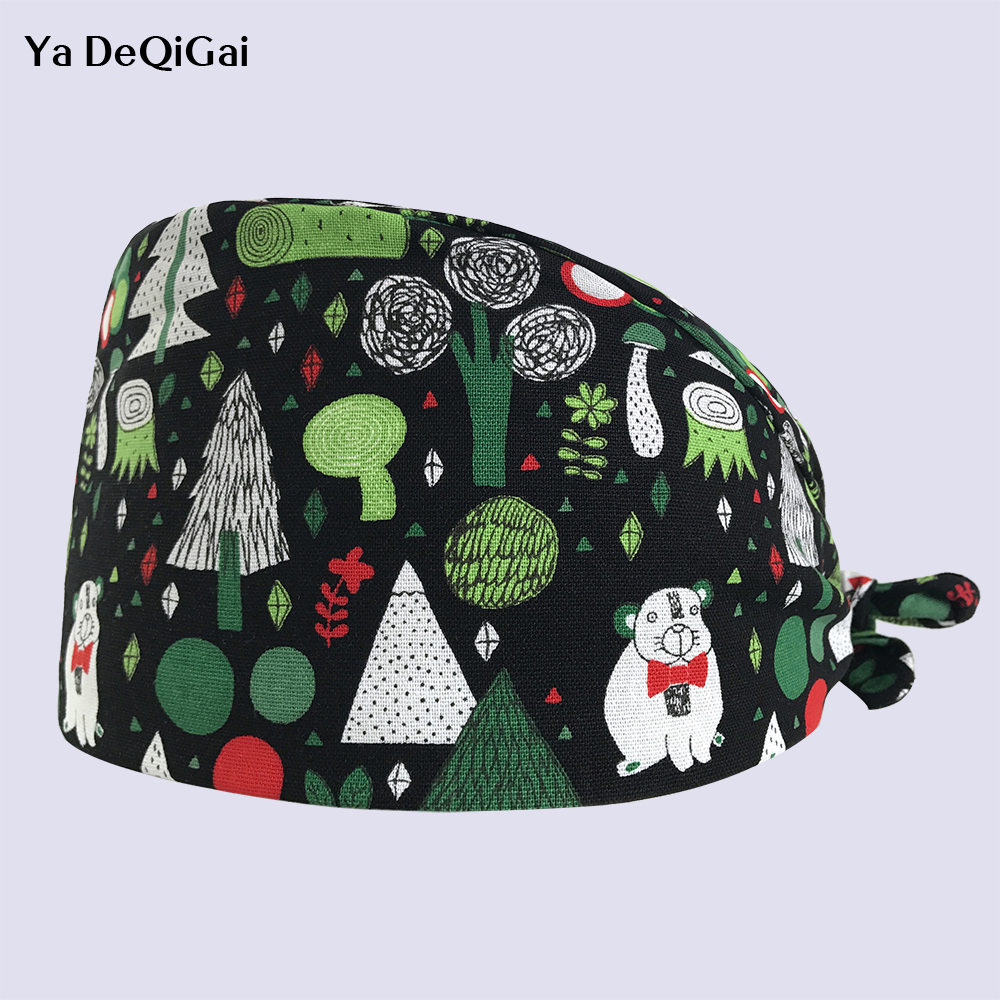 High Quality Unisex Adjustable Dentistry Hats Pet Hospital Doctor Nurse Caps Printed Medical Surgical Cap Operating Surgery Cap