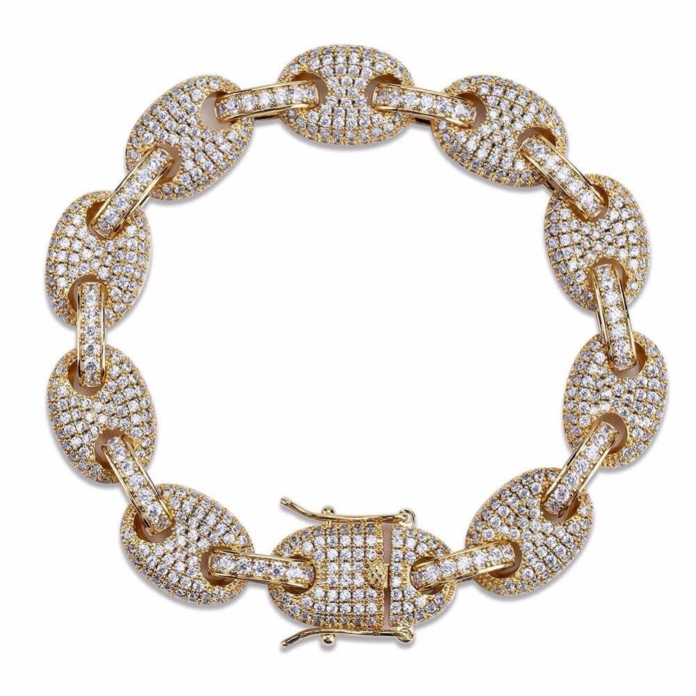 12mm café en grains soufflé Marine chaîne Bracelet hommes Hip Hop Bling glacé AAA CZ Zircon Bracelets mâle bijoux or argent 7