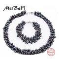 [MeiBaPJ] 925 Sistemas de la Joyería de Plata 100% Blanco perla Natural de Agua Dulce Verdadera perla Collar Pulsera set de Joyas para las mujeres