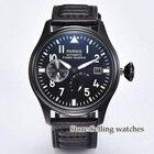 ★  Parnis 47мм мужские наручные часы PVD корпус с запасом хода черный циферблат светящийся ST2530 с авт ①