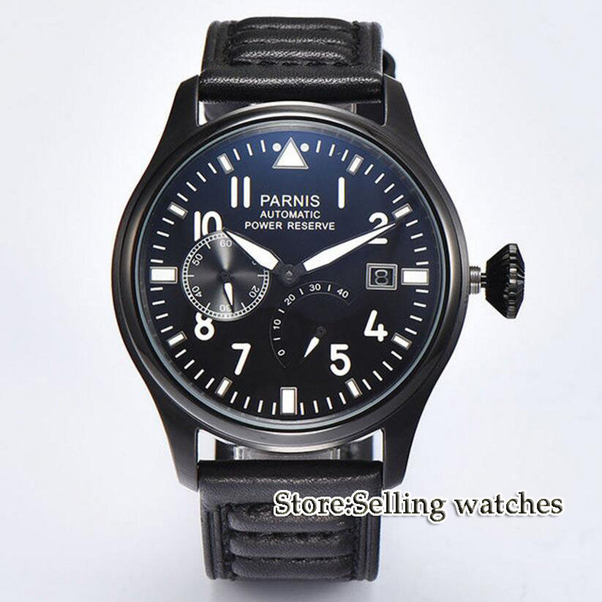 Parnis 47mm men's watch PVD case power reserve black dial luminous ST2530 Automatic movement wrist watch men стоимость