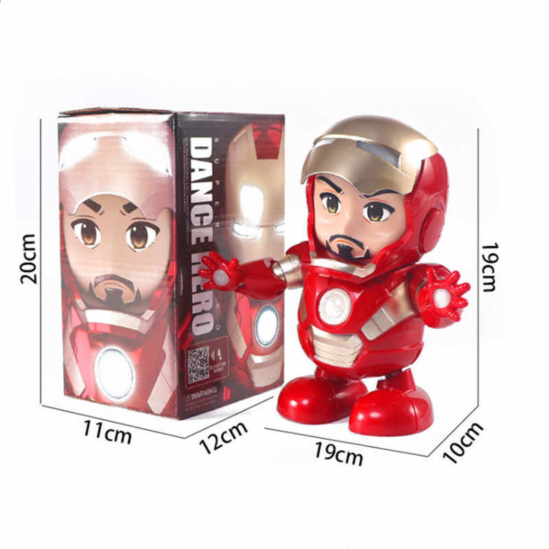 זרוק ספינה קישור ריקוד איש ברזל פעולה איור צעצוע LED פנס עם קול נוקמי איש ברזל גיבור אלקטרוני צעצוע