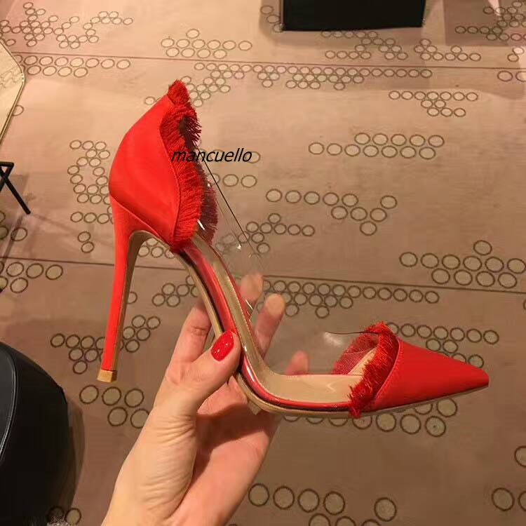 Classy Red Silk Patchwork Heels Sexy Pointy Side Clear Stiletto Heel Fringe Edge Pumps Women Fashion Dress Shoes New Arrival