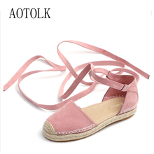 2018 Brand Women Flats Summer Shoes Platform Mules Lace Up Ankle Strap Fisherman Shoes Woman Straw Round Toes Plus Size Ladie DE sales promotion lace pearls brides wedding shoes plus size round toes lady sweet lace evening party white dress shoes