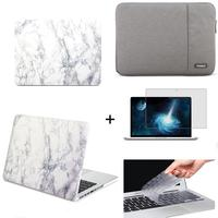 White marble pattern Hard Case Cover +Keyboard Cover For Macbook Pro Retina 13.3 A1502 / A1425 laptop sleeve case