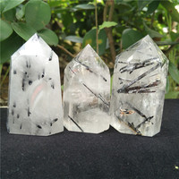 Natural Black Tourmaline Point Black Rutilated Quartz Tower Crystal Obelisk Standing Point Meditation Tool Healing Crystal Point