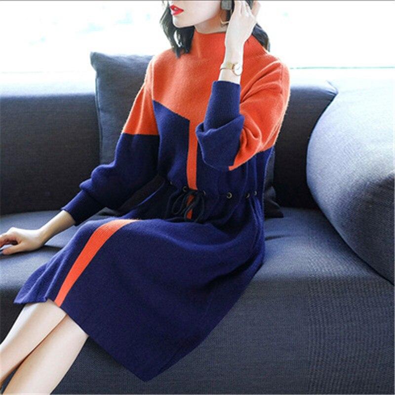 2019 nouveau automne hiver tricot robe femmes longue section col roulé femme à manches longues Bottoming laine pull robe X116 - 6