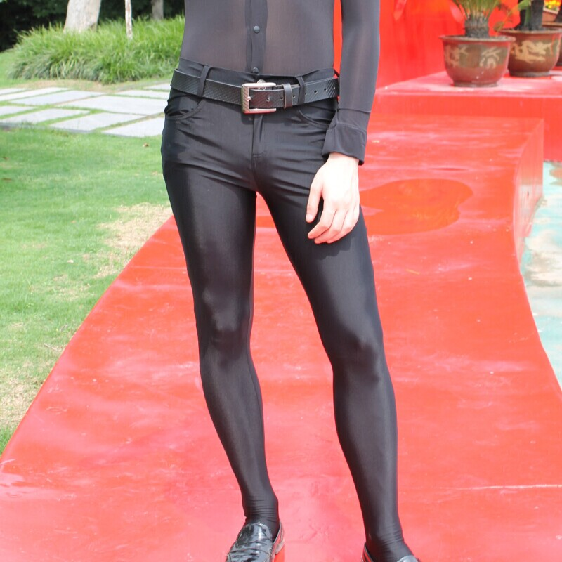 HOT Sexy Men Charm Pants Elastic Tight Trousers Silky Stockings Casual Pencil Pants Erotic Lingerie Club Gay Wear FX2112