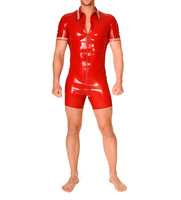 Red Latex Rubber Leotard Sexy Men's Bodysuit Polo Stlye Latex Short Catsuit