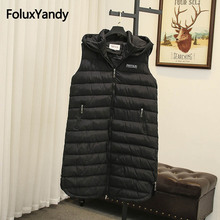 Long Winter Vest Women Sleeveless Coats Plus Size 5XL Casual Hooded Warm Thick Vests Black Outerwear SWM1137