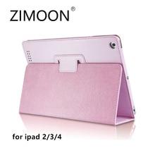 Zimoon Para Apple iPad 2/3/4 Caso Magnético de Encendido Automático hasta el Sueño Flip Folio PU Cubierta de Cuero Con el Sostenedor del Soporte de Smart caso