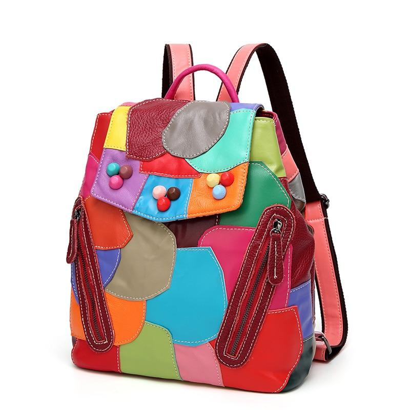 Women Backpack Feminine Geometric Joint Sheepskin Female Backpacks For Teenage Girls Backpack Drawstring Bag Student School