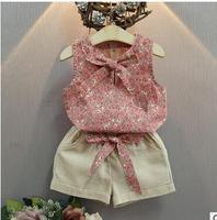 Bear Leader Girls 2017 New Children S Suits Clothing Kids Cotton Girls O Neck Flower Bow