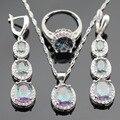 Multicolor Rainbow Cúbicos de Zircônia Conjuntos de Jóias Colar de Pingente de Cor Prata Anéis Brincos Longa Queda Para As Mulheres Caixa de Presente Livre