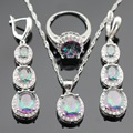 Multicolor Rainbow Cubic Zirconia Silver Color Jewelry Sets Necklace Pendant Long Drop Earrings Rings For Women Free Gift Box