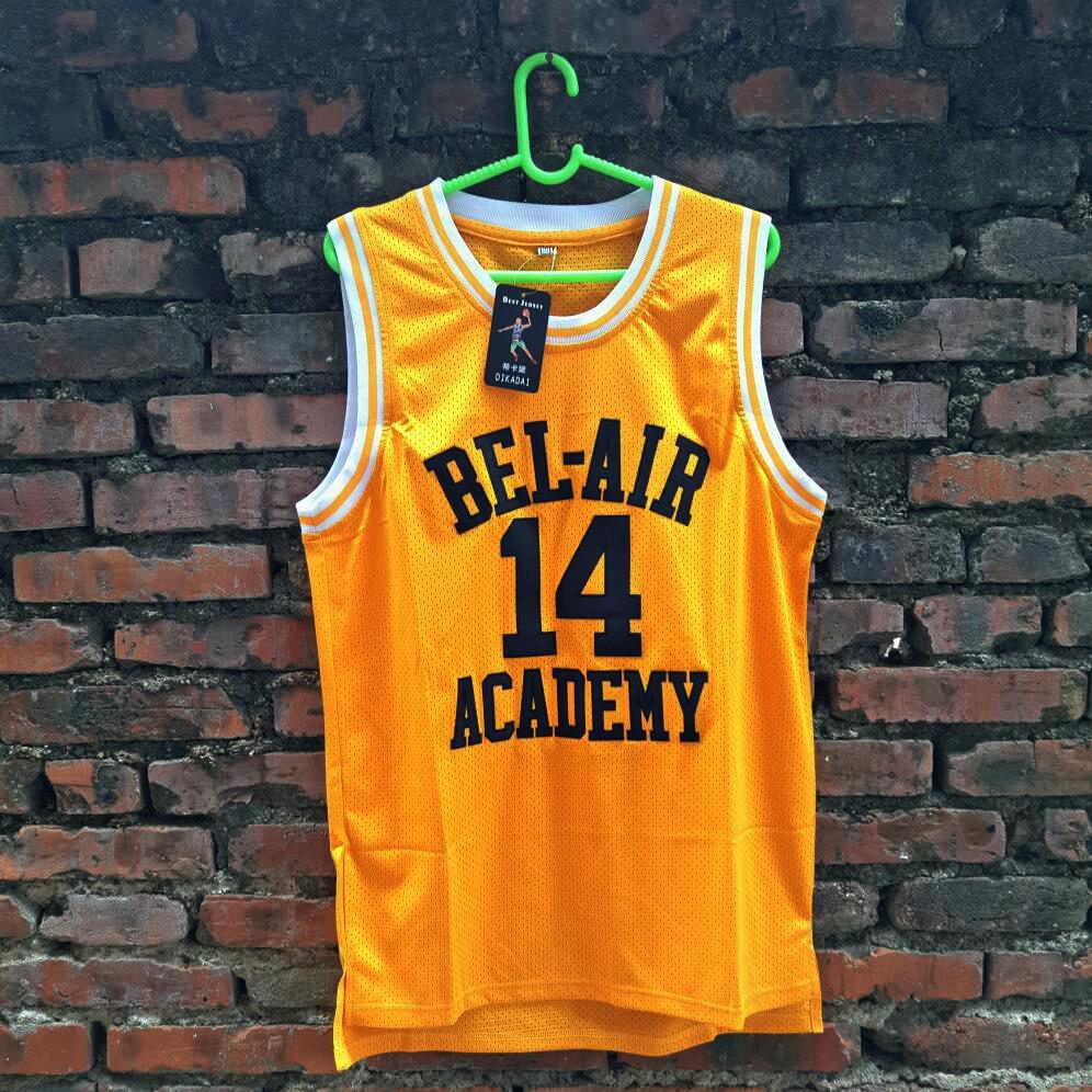 Prix pour Vente Film Will Smith #14 Bel Air Academy Jaune rétro de basket-ball maillots pour Hommes Livraison gratuite