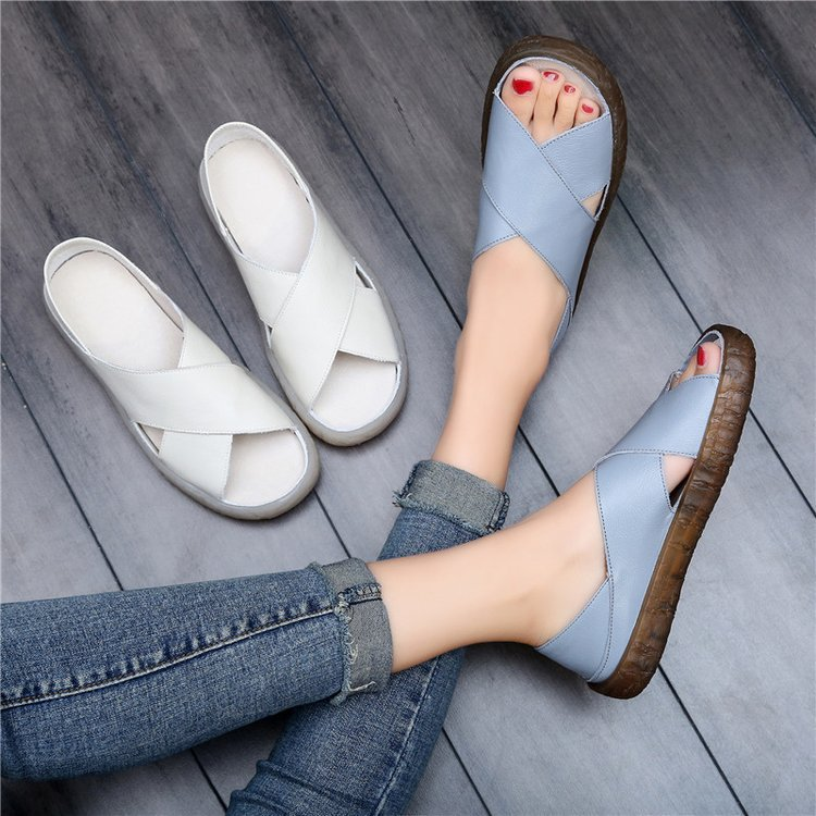 Brands Women Sandals 2019 Summer Casual Women Shoes Leather Ladies Flat Sandal Soft Bottom Slip On Sandals Handmade Woman Sandal