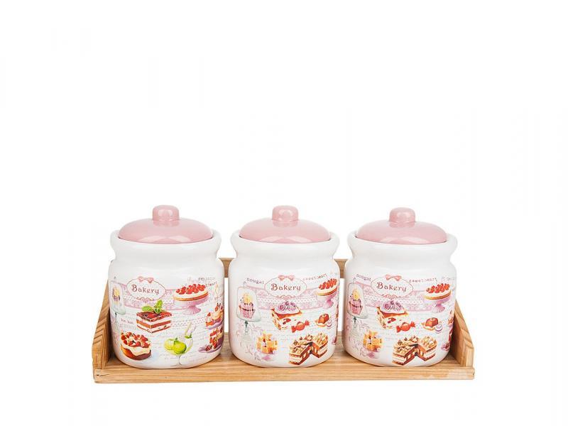 Set jars bulk Polystar Collection, Biscuit, 4 subject bottles jars