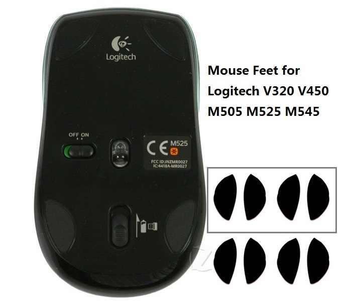 3 メートルテフロンマウススケート/マウス足ロジクール V320 V450 M505 M525 M545 (4 カプセル 1 でセット) -無料でアルコールパッドクリーン