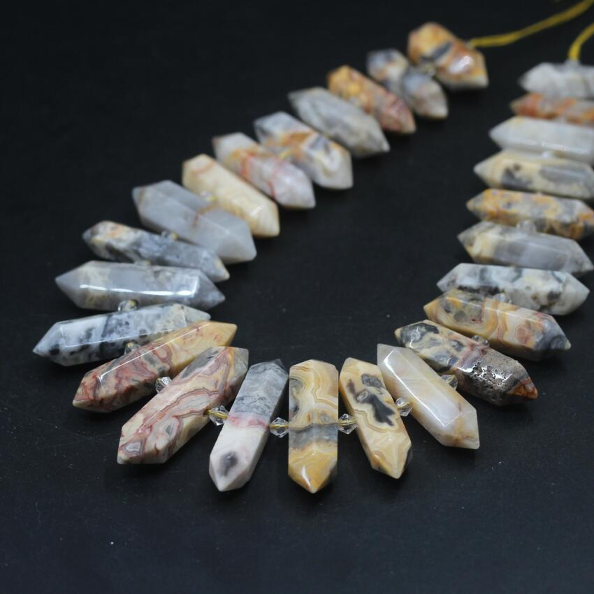 15.5strand Natural Crazy Agates Faceted Slice Double Point Pendants,Yellow Stone Hexagon Nugget Loose Beads Jewelry Making