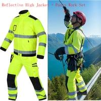 Светоотражающие куртка + Штаны высокая видимость Для мужчин Открытый Рабочая Топы корректирующие флуоресцентный желтый мульти карманы Дет