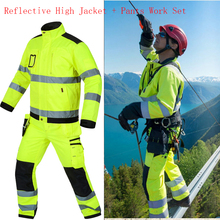 Reflective Jacket + pants High visibility Men Outdoor Working Tops Fluorescent Yellow Multi-pockets Safety Workwear Clothing Set
